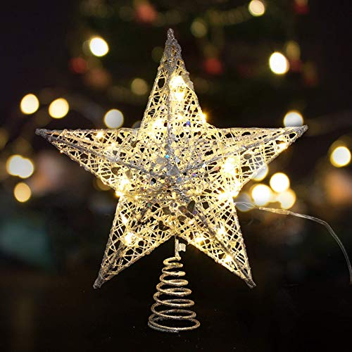 ZSML 1 Set 20CM Christmas Tree Toppers Star Lights, Battery Operated 3D Hollowed Star Xmas Tree Topper Lighted for Xmas Holiday Party Gift Decor