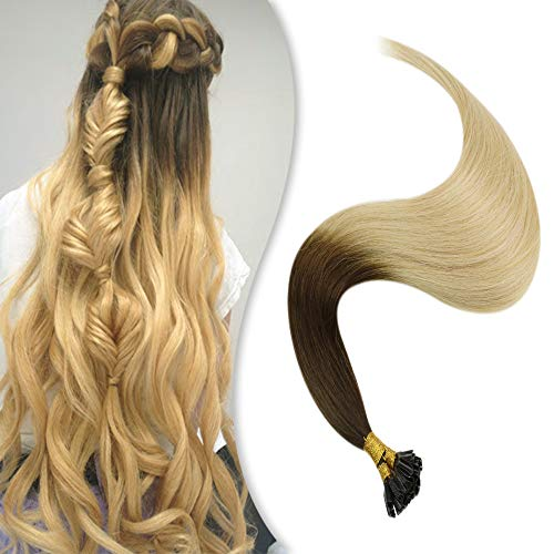 YoungSee 18 Pouces Extension Cheveux Keratine a Chaud Ombre Marron Fonce a Blonde Blanche #4/60 100% Remy Human Hair U Tip Keratine Extension a Chaud Cheveux Naturel 1g/s 50g