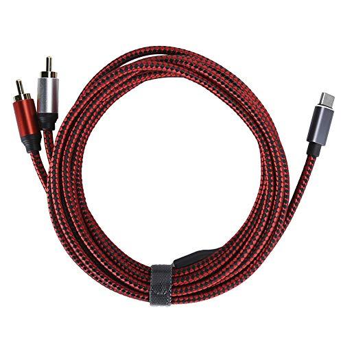 Esenlong Cable RCA 2 en 1 Tipo C a 2 RCA Cable de audio para cine en casa DVD TV Amplificador adecuado para conexión de teléfono móvil altavoz/amplificador.