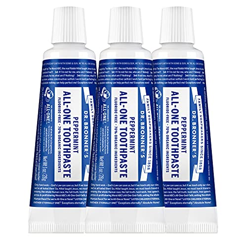 Dr. Bronner's - All-One Toothpaste (Peppermint, 1 ounce, 3-Pack) - 70% Organic Ingredients, Natural and Effective, Fluoride-Free, SLS-Free, Helps Freshen Breath, Reduce Plaque, Whiten Teeth, Vegan