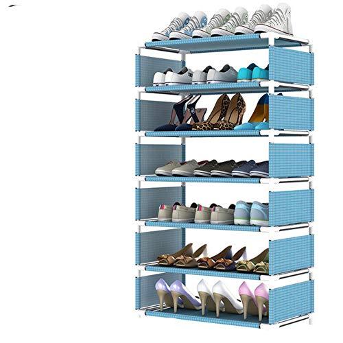 Estante de zapatos multicapa Tubo de acero no tejido fácil de instalar en el hogar Zapatero Estante Organizador de almacenamiento Soporte Soporte de ahorro de espacio-gris oscuro