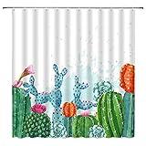 TTYAC Cortinas de ducha con diseño de cactus impermeables de...