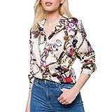 Camisa de talla grande para mujer, Camiseta de manga larga con cuello de pico estampado Casual Elegantes Deporte Blusa Invierno Oficina Stripe t Shirt Moda Botón tops Primavera Verano riou (Beige, XL)