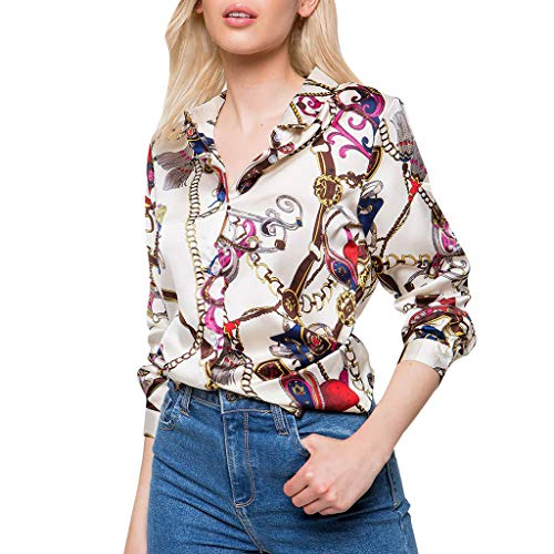 showsing-vrouwen kleding Womens Lange Mouw Bloemenprint Vakantie T-shirt - Sexy V-hals Kettingen Print Casual Tops Blouse Tee