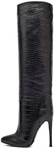 SYYAN Femmes PU Crocodile Modèle Pointu Cylindre Moyen Moyen Moyen Manuel Pompe Le Genou Bottes Noir, noir, 43 6d7