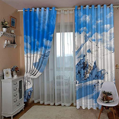 SUZIHUA Verdunkelungsvorhang 3D Snow Mountain Massiver Vorhang Isolierung Fensterdekoration Öse Wohnzimmer...