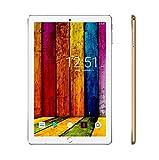 Tablette Tactile 10.1 Pouces 4G Android 9.0 Quad Core avec 32Go, 3Go de RAM Tablette Dual SIM et Double Caméra, WiFi Bluetooth GPS - Or