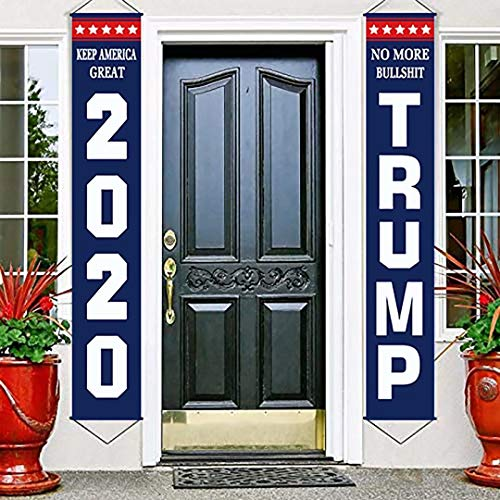 Henriyne Funny Flag Banner Trump 2020 Flag No More Bull Keep American Great 2Pcs Hanging Vertical Porch Banners for Door Decor Home Yard Holiday Farmhouse 70.8x12 Inch