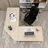DlandHome L-Shaped Computer Desk 59 inches x 59 inches, Composite Wood and Metal, Home Office PC Laptop Study Workstation Corner Table with CPU Stand, Maple and White Legs, ZJ02-OW