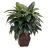 Nearly Natural Fast Natur 6688keulenlilien mit Vase Dekorative Silk Pflanze, Grün