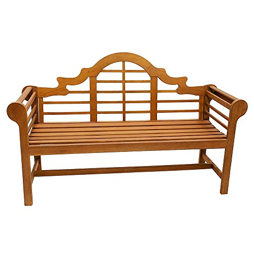 achla outdoor benches Achla Designs OFB-02 Lutyens Indoor/Outdoor Wood Bench, Natural, 5 ft