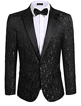 Coofandy Mens Floral Party Dress Suit Stylish Dinner Jacket Wedding Blazer One Button Tuxdeo Black US M Chest 44.9