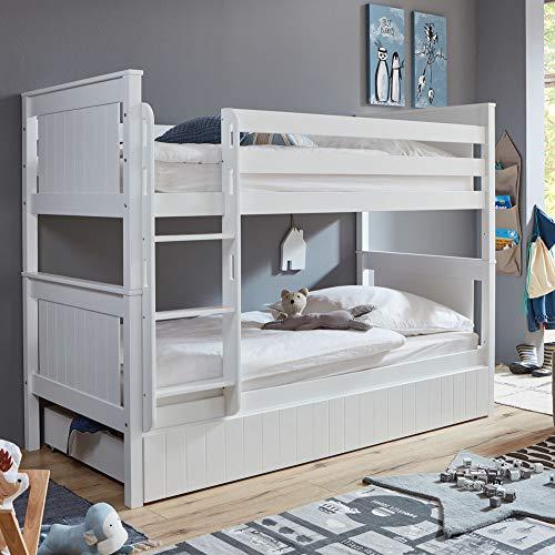 Lomadox Etagenbett mit Bettschublade Buche teilmassiv mit MDF, weiß lackiert, einzeln stellbar 90x200cm