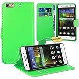 FoneExpert® Huawei G Play Mini/Honor 4C Handy Tasche, Wallet Hülle Flip Cover Hüllen Etui Ledertasche Lederhülle Premium Schutzhülle für Huawei G Play Mini/Honor 4C (Grün)