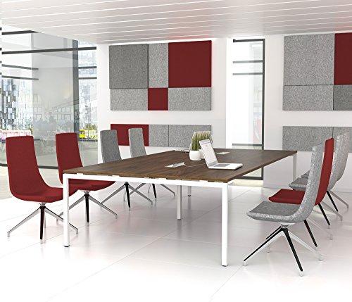 Weber Büroleben GmbH NOVA Konferenztisch 320x164cm Nussbaum mit ELEKTRIFIZIERUNG Besprechungstisch Tisch, Gestellfarbe:Weiß