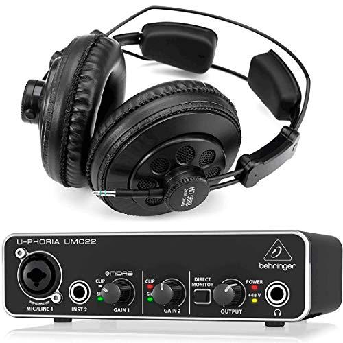 Behringer Interface Audio UMC22 U-Phoria + Auriculares Estudio Pro Superlux HD668B 256 Ohm