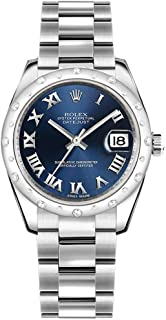 Datejust 31 Blue Roman Numeral Dial Diamond Women's Watch with Oyster Bracelet 178344