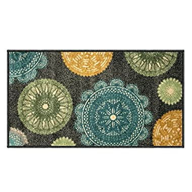Silk & Sultans Agathe Collection Contemporary Medallion Design, Pet Friendly, Non-Slip Doormat with Rubber Backing, 1'x2' Grey
