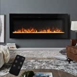 MWPO Electric Fireplace Wall Mounted Insert Electric Fire with Remote Control, 9 Colours Flame,900W/ 1800W Heater with Timer 1524x140x544mm