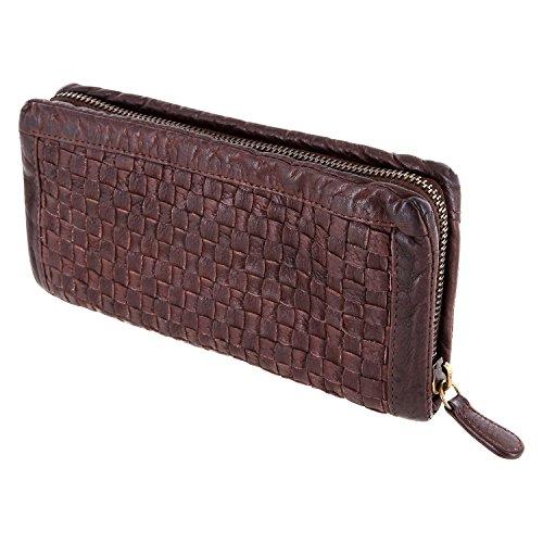 Damenbörse Brieftasche, Portemonnaie Mod. 5027 (20/10/ 3 cm), geflochten, gewaschenes Leder, braun