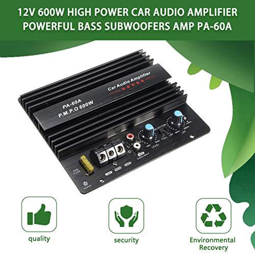 12 V Mono 600 W Amplificador de Audio para Coche de Alta Potencia PA-60A Fashion Wire Dibujo Potente Subwoofers Bass Amplificador con 20A Fusible Negro