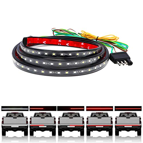 """60"""" Truck Tailgate Light Bar 108 LED Strip with Red Brake White Reverse Sequential Amber Turning Signals Light with Standard 4-Pin Flat Connector"""