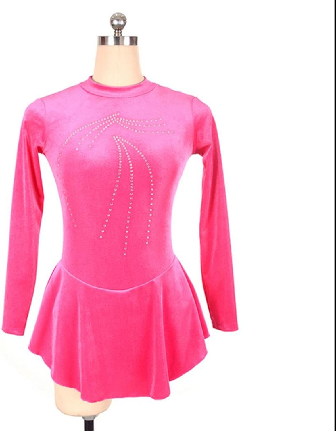 Heart&M Figure Skating Dress Women and Girls' Ice Skating Dress Stretchy Velvet Hand Craft Rhinestone Skating Wear Long Sleeve Pink