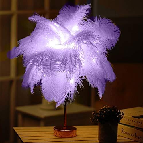 Lámpara LED de mesa de plumas de avestruz, decoración de dormitorio, luz PingGongHuaKeJiYouXianGongSi (color: violeta)
