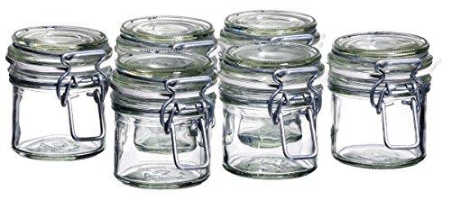 MÄSER 925337 Gothika, Einmachgläser klein, made in Germany, 6er Set à 90 ml, Vorratsgläser mit Deckel und Drahtbügel zum luftdichten Aufbewahren, Einkochen und Einlegen, Glas, transparent