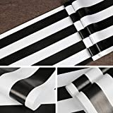 Symoden Black and White Stripe Wallpaper 17.71' x 118' Black and White Peel and Stick Contact Paper Self-Adhesive Removable Waterproof Wallpaper Wall Covering Cabinets Shelves Drawer Liner Decorative