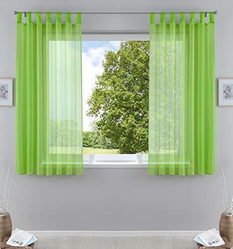 2er-Pack Gardinen Transparent Vorhang Set Wohnzimmer Voile Schlaufenschal mit Bleibandabschluß HxB 175x140 cm Apfelgrün, 61000CN