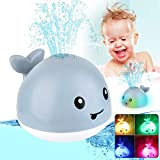 Learning Curve Baby Bath Toys, Light Up Whale Bath Toys with LED Light Spray Water Bath Toys for Toddlers Infant Kids Boys Girls Induction Sprinkler Bathtub Toys Shower Pool Bathroom Toy Gray