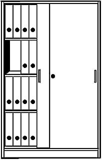 KERKMANN Armoire à portes coulissantes tec-art, 4 hauteurs