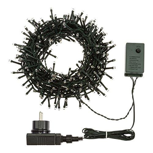 XMASKING Catena 12,5 m, 300 LED Bianco Freddo, con Giochi di Luce, Cavo Verde, luci di Natale, luci per L'Albero di Natale, luci Natalizie