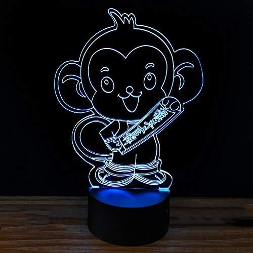 7 Colors Changing Led Monkey Shape 3D Night Lights Creative Happy Monkey Year Desk Lamp Home Decor Lighting Kids Gifts