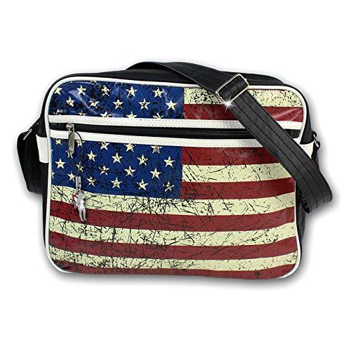 Robin Ruth USA D3OTG1040F - Borsa a tracolla in ecopelle, con bandiera  americana, colore: Nero
