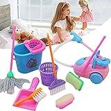 Yuanqu Juego de Limpieza para niños, 9 unids/Set, Accesorios para muñecas pequeñas, Herramientas de Limpieza para el hogar, Herramientas de Limpieza Divertidas y Encantadoras, Juguetes para niñas