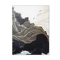 QRYY カーペットラグブラックホワイトランドスケープペインティングプリントカーペットゴールドリネン廊下マット大きなリビングルームラグキッチンバスルーム用洗えるラグ(色:T1、サイズ:100x160cm)
