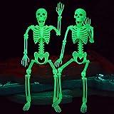 2 Pcs Glow In The Dark Skeleton for Halloween Decorations, Skeleton Prop, Indoor/Outdoor Spooky Scene Party Favors, Photo Prop