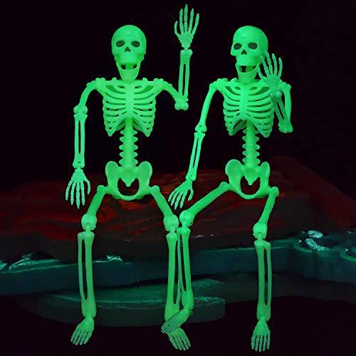 2 Piezas de Esqueleto que Brilla en la Oscuridad para Decoraciones de Halloween, Accesorio de Esqueleto, Escenas Espeluznantes para Interiores y Exteriores