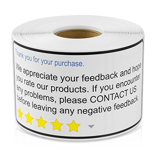 Thank You for Your Purchase 2'x 4' Amazon Walmart Ebay Thank You for Your Purchase Positive Negative Feedback (300 Labels per roll / 4 Rolls)