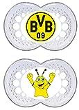 MAM Football Schnuller im 2er-Set, Original Schnuller im Fan Design von Borussia Dortmund, zahnfreundlicher Baby Schnuller aus MAM SkinSoft Silikon, 16+ Monate
