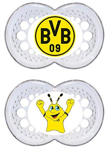 MAM Football Schnuller im 2er-Set, Original Schnuller im Fan Design von Borussia Dortmund, zahnfreundlicher Baby Schnuller aus MAM SkinSoft Silikon, 6-16 Monate