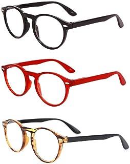 Inlefen Retro Round 3 Pack de gafas de lectura para hombre y mujer Gafas de moda para lectura +1.0 a +3.5