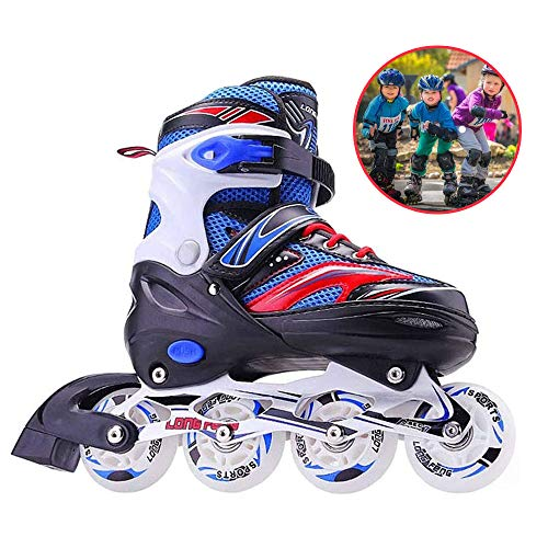 CLEBAO Children Adjustable Inline Skates Full Flash Adult Men and Women Inline Roller Skates Beginners Boys and Girls Kids Skating Shoes Pu Mesh Best Gift-Blue_S(12.5-2.5)
