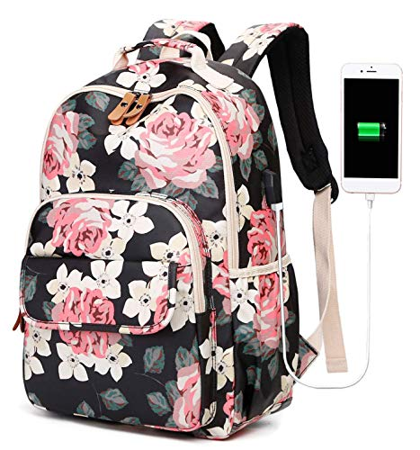 School Backpack Floral Bookbag Teen Girls College Laptop Backpack with USB Charging Port Womens Daypack(Black-floral 6058)