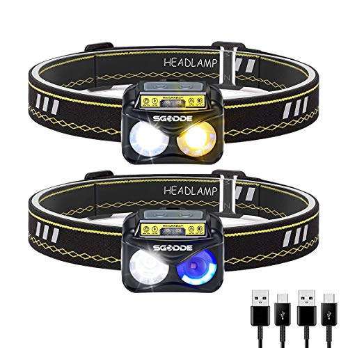 Linterna Frontal LED USB Recargable, SGODDE 2 Piezas Linterna de Cabeza Sensor LED con 6 Modos,Búho 300 Lúmenes Lámpara de Cabeza IPX65 Impermeable Super Brillante para Correr,Acampar,Pescar,Ciclismo