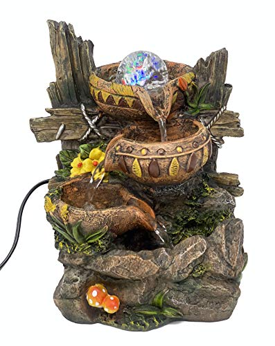 ImagiWonder Indoor Tabletop Fountain Cascading Water Bowls on Rocks