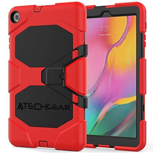 TECHGEAR G-Shock Funda Compatible con Nuevo Samsung Galaxy Tab A 10.1' 2019 (SM-T510/SM-T515) - Funda Protectora Prueba de Choques con Soporte - Niños Escuelas Constructores Trabajadores [Rojo]