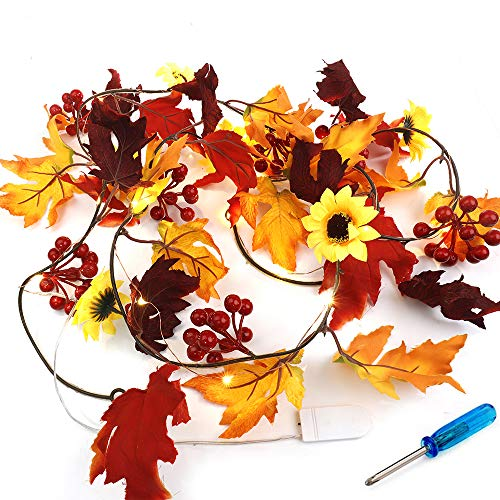 Fall Garland Maple Leaf String Lights, 20 LED 6.5Ft Fall Maple Leaf Garland Battery Powered Maple Leaves Light Waterproof Halloween Autumn Garland for Indoor Outdoor Festival Party Decor